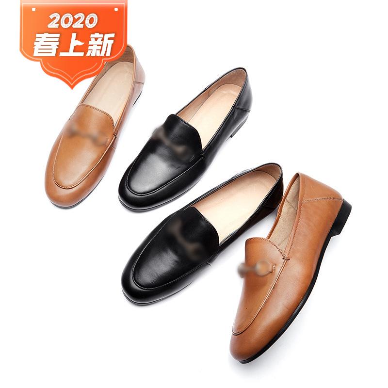 Giày GuangDong Giày cao gót đế xuồng mùa xuân 2020 Giày nữ mới bằng da cừu Shu Giày đơn mềm Giày trắ