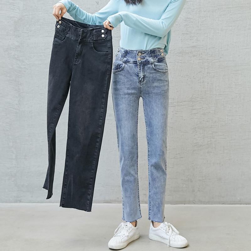 YIRAN quần Jean 159 # 2020 Quần ống khói phổ biến eo cao màu xanh retro quần jeans rách nữ thẳng quầ