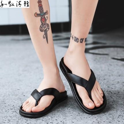 Giày GuangDong  Giày thủy triều đơn giản màu đen và trắng Quảng Đông 2019 mới dép xỏ ngón ký túc xá