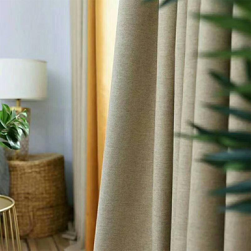 ZHENSHANG Vải Linen Rèm vải màu tinh khiết Bắc Âu Hoàn thành vải màn che bóng cao Vải dày Hai lớp vả