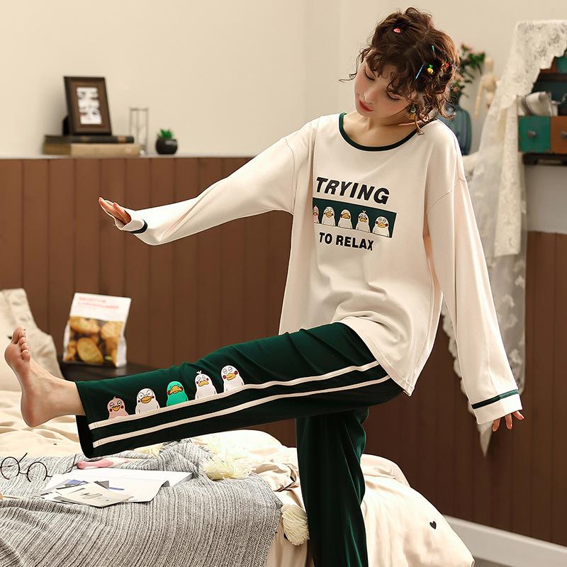 DIRUXIN Đồ ngủ Tiru Xin mùa thu và mùa đông đồ ngủ của phụ nữ mới dài tay Nhật Bản và Hàn Quốc dễ th