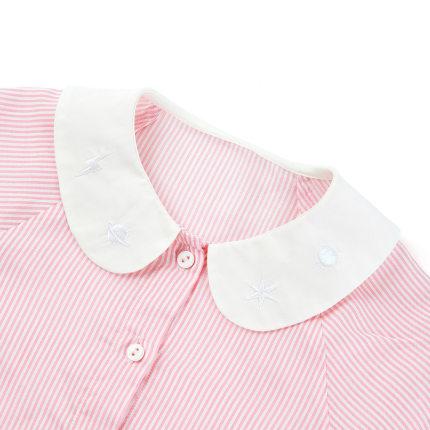 minipeace Áo Sơ-mi trẻ em  peacebird quần áo trẻ em màu hồng sọc dọc áo sơ mi dài bé gái