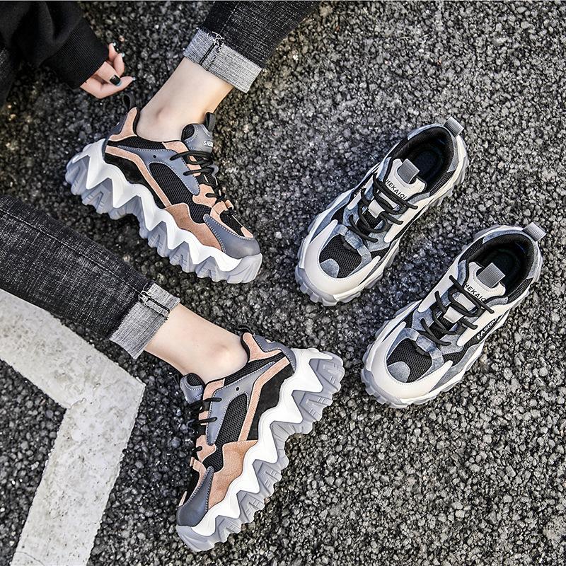 YIDIANLIANG Giày bánh mì Giày Daddy nữ 2020 mùa xuân mới bánh xốp dày da dày phù hợp với giày thường
