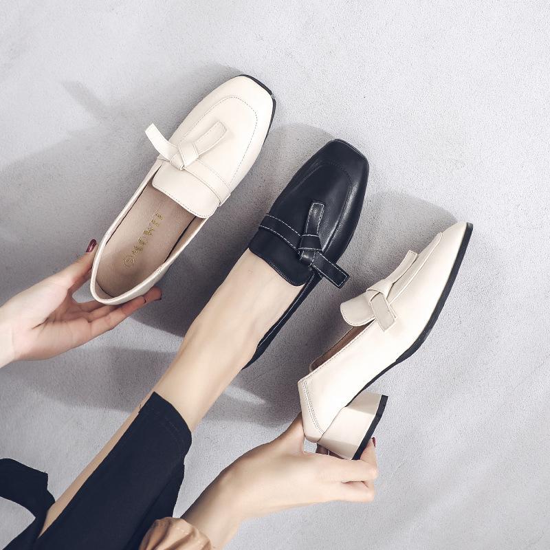 Giày da một lớp Giày đơn nữ 2020 mùa thu giày nữ mới phong cách Anh giản dị retro phong cách đại học