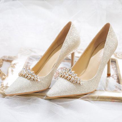 Giày cô dâu  Giày cưới nữ 2019 cô dâu mới Giày cưới cao gót đính sequin Giày cưới đẹp với đôi giày p