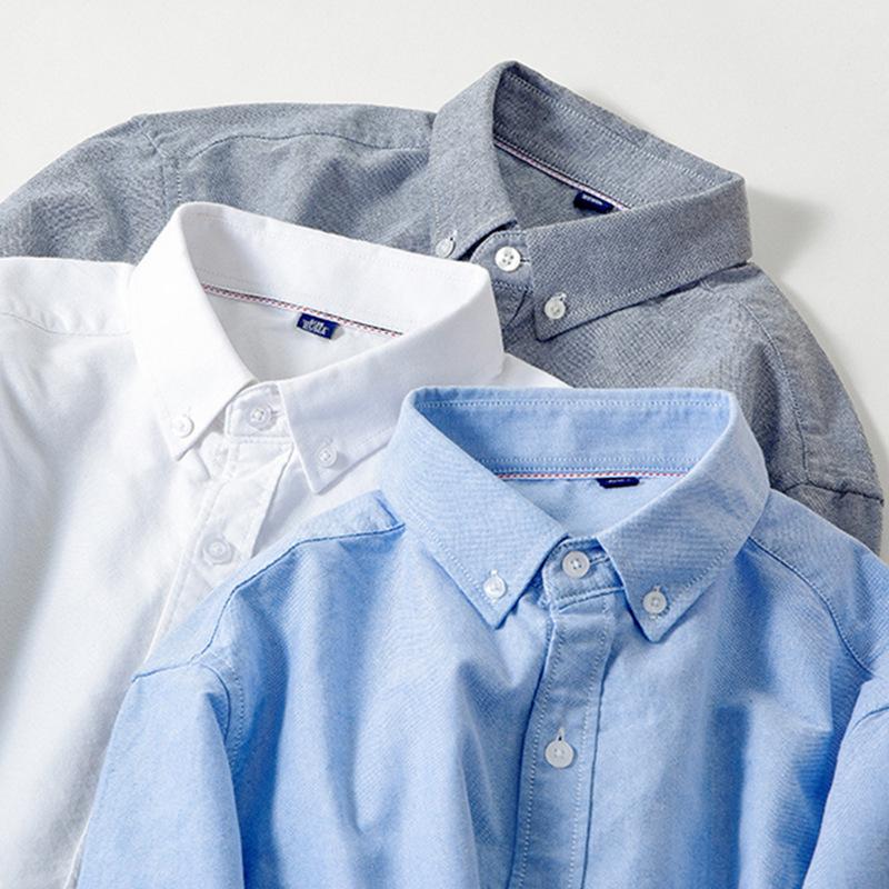 PUSAI Áo sơ mi tùy chỉnh mới không mặc sắt bên trong và bên ngoài để mặc thời trang giản dị cotton h