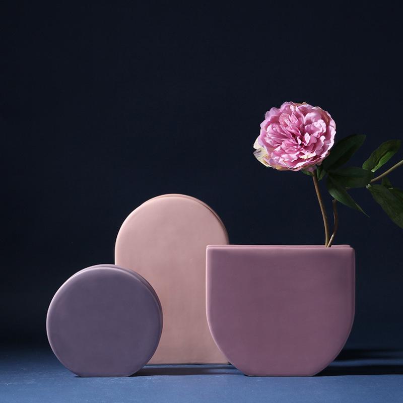 KELIDA Bình bông Bình gốm Bắc Âu hoa Morandi màu in gió nhà mềm mô hình trang trí phòng trang trí bá