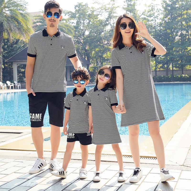 KAQIWA Áo thun gia đình Quần áo cha mẹ trẻ em Hàn Quốc mùa hè Mẹ phụ nữ ăn mặc ngắn tay gia đình bốn