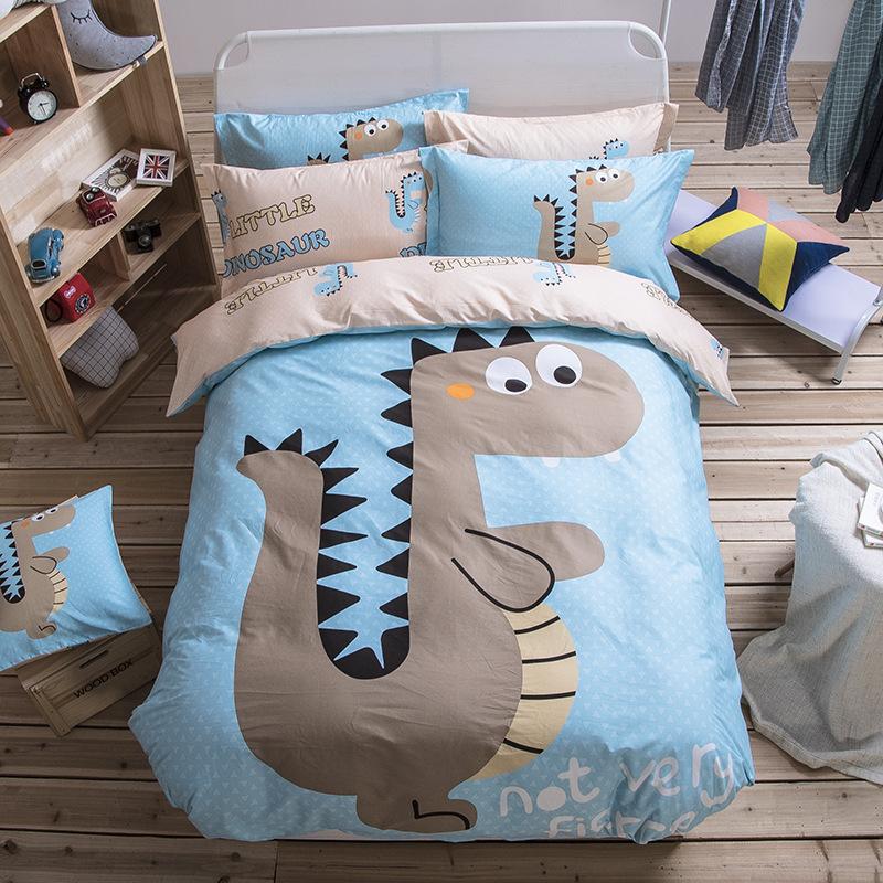 HUANGCHAO drap mền Bộ đồ giường cotton bốn mảnh hoạt hình bông ga trải giường học sinh bộ chăn bông