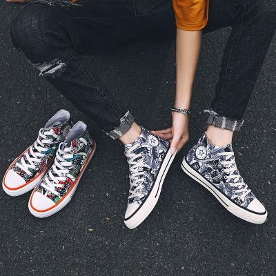 FOORAABO Giày Sneaker / Giày trượt ván 2020 giày vải cao cấp mới giày nam in hoang dã giày graffiti