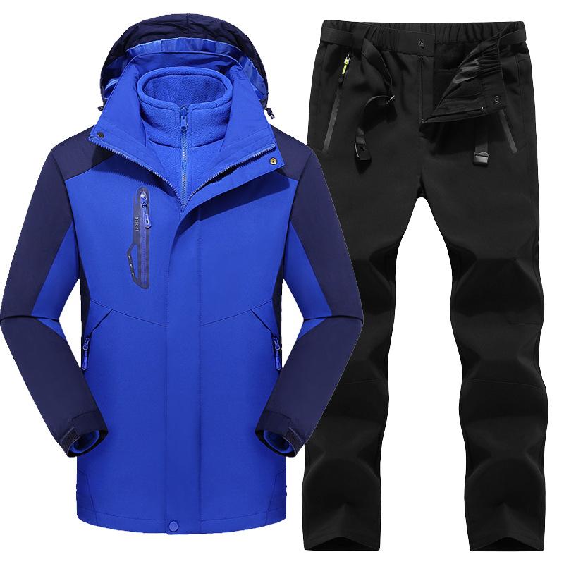 Quần áo leo núi Bộ đồ tấn công ngoài trời mùa thu và mùa đông phù hợp cho nam và nữ cặp đôi phù hợp