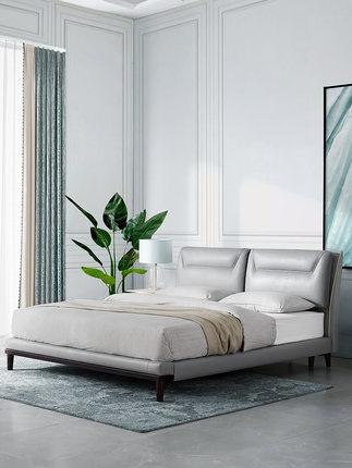 Gu giường  nhà hiện đại tối giản giường da Bắc Âu phòng ngủ chính 1,8 mét giường da đôi B890