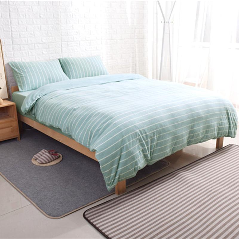 AIBULANG drap mền Chăn bông Tianzhu bao gồm chăn dệt kim sọc bông kiểu Nhật Bản trải giường đơn sản