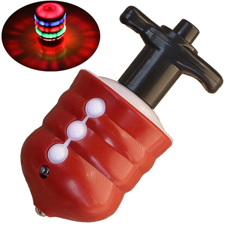 ZPJJ Đồ chơi phát sáng Glowing Giả Gỗ Gyro Trẻ em Đồ chơi Âm nhạc đầy màu sắc Flash Điện Gyro Chợ đê