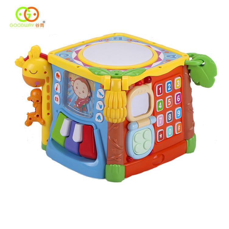 Gu Yu Đồ chơi luyện trí thông minh hexahedron 3839 giáo dục mầm non câu đố âm nhạc pat trống bé tay