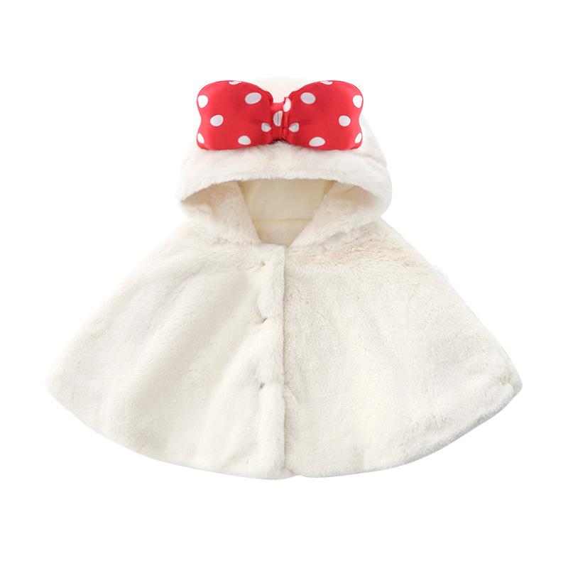 Áo choàng trẻ em Bé gái 2020 thu đông cape mới 1-3 bé màu be nơ thỏ sang trọng cape bé ra quần áo