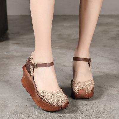 HUIZUMEI giày bánh mì / giày Platform Nhà sản xuất mới làm bằng tay dệt kim da giày nữ văn học thời