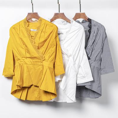 Áo Sơmi Sáng tạo 2020 Hàn Quốc áo len dáng xòe 7 điểm cổ chữ V