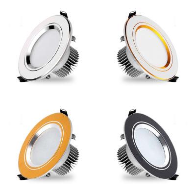 QILAI Đèn trần Downlight led ba màu mờ nhôm nhúng đèn lỗ 2,5 / inch