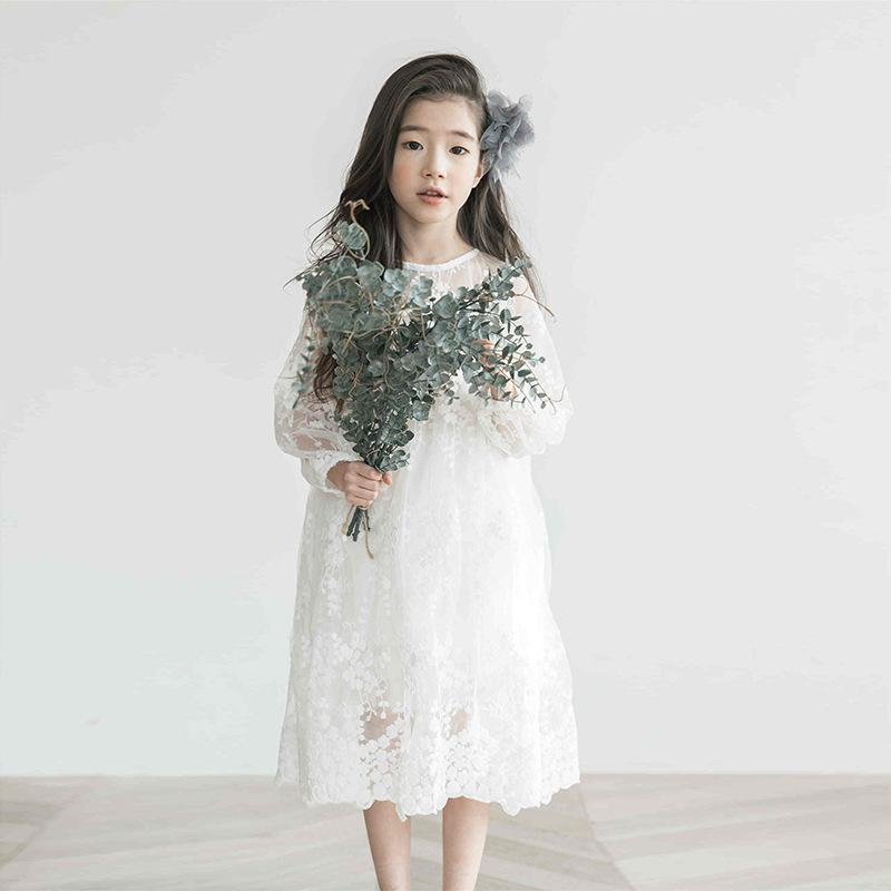 Enyakids Phong cách Hàn Quốc Quần áo trẻ em 2020 mùa xuân và mùa thu Phiên bản Hàn Quốc của váy ren