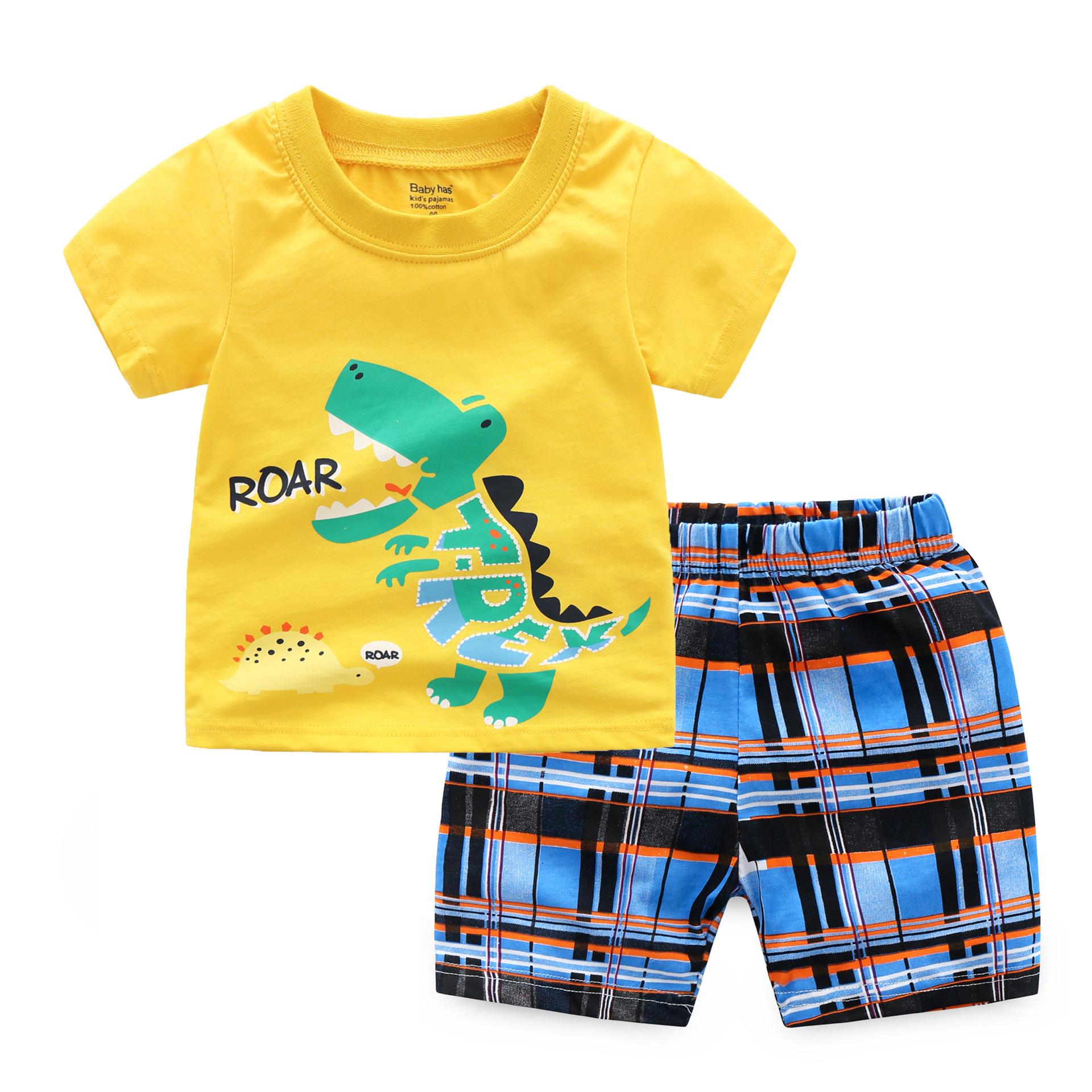 Đồ Suits trẻ em Bộ đồ trẻ em khủng long in cổ tròn cotton bé trai phù hợp với mùa hè Trẻ em áo thun