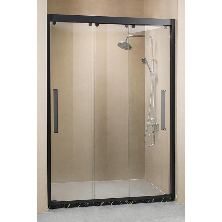 Bồn đứng tắm Inox cát đen ba phòng tắm kính cường lực cửa phân vùng vệ sinh phòng tắm nhà cung cấp