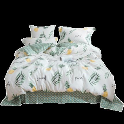 Bộ drap giường  Tôi thích bộ chăn ga gối bằng vải cotton hình trái tim cho bé gái bốn mảnh trong rừ