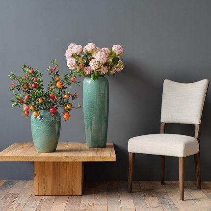 Nuofuyan Bình bông  Bình gốm sàn hoa khô màu men lò thay đổi cắm hoa hiện đại phong cách châu Âu ph