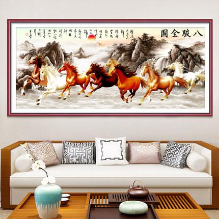 Ji Hongxiu Tranh thêu chữ thập  Tám con ngựa thêu chữ thập 2019 phòng khách mới thêu không khí lớn p