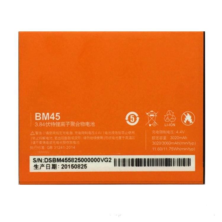 SHENGYONGSHUN Pin điện thoại Bán buôn cho Xiaomi Redmi note2 Pin BM45 Pin Chất lượng gốc Điện thoại