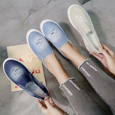 Giày Loafer / giày lười 2020 thương mại nước ngoài xuyên biên giới muốn giày vải đế xuồng cỡ lớn học