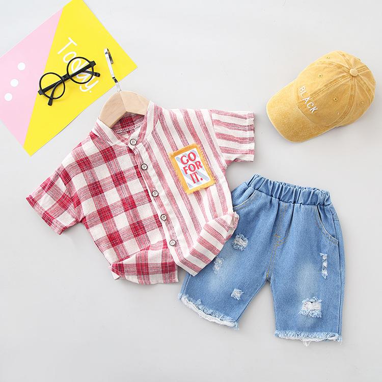 DOUYATANG Phong cách Hàn Quốc Mùa hè 2019 quần áo trẻ em khâu thời trang bé trai kẻ sọc Hàn Quốc sọc