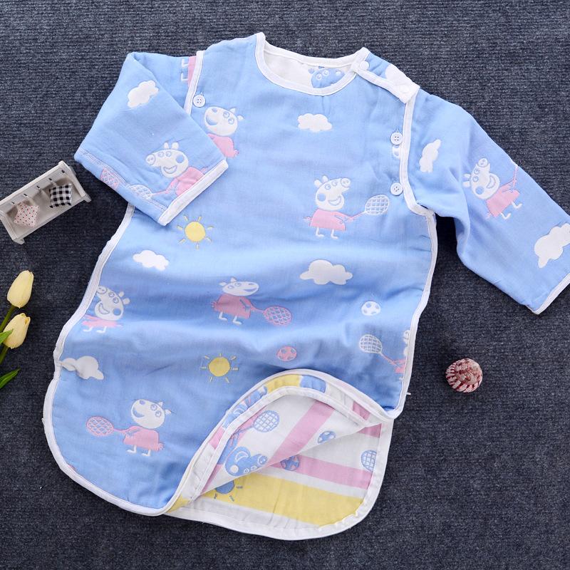 Túi ngủ trẻ em Túi ngủ ba lớp gạc túi ngủ có chân bông với tay áo có thể tháo rời