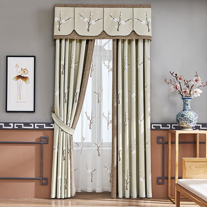 YUEER rèm cửa sổ Nhà máy bán hàng trực tiếp Trung Quốc hiện đại vải lanh thêu thêu rèm vải phòng khá