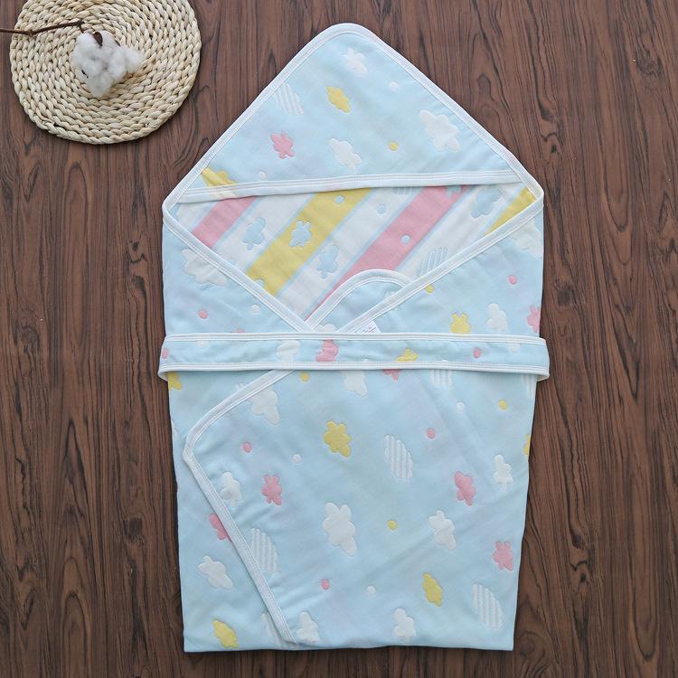 ANNI Khăn quấn Bông gạc 6 lớp nguyên chất được giữ bởi khăn sơ sinh được tổ chức bởi các mô hình mùa