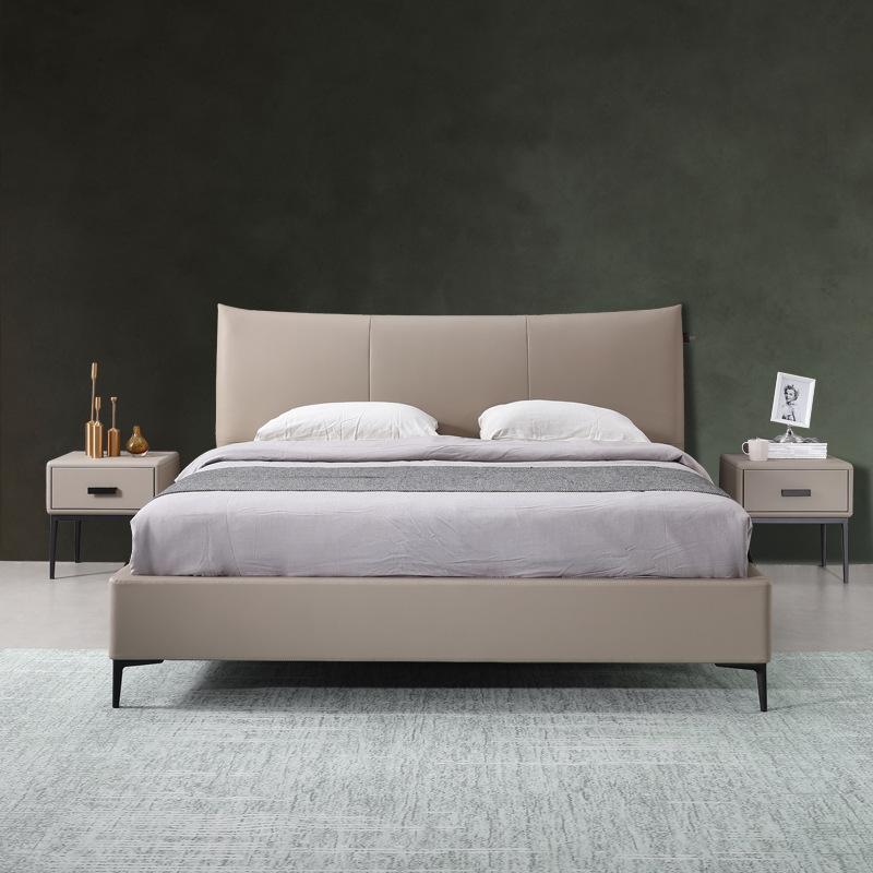 MENGXIANSHENG giường Ý tối giản giường da tối giản phòng ngủ đôi 1,8 mét thiết kế hậu hiện đại tối g