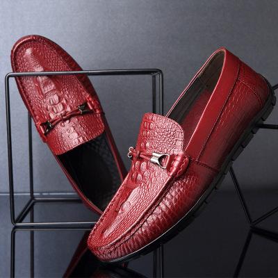 HONGWEIJUAN Giày da Giày đậu Hà Lan Giày da nam đế bằng, giày đế bằng, giày đế bằng da cá sấu