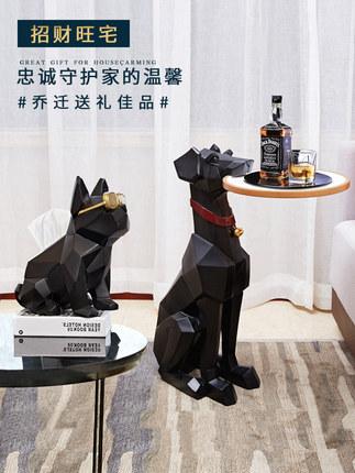 Đồ trang trí bằng cao su  Trang trí sàn sáng tạo chó lớn động vật phòng khách TV tủ sofa góc ánh sán
