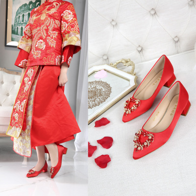 QIAOYINYUAN Giày cô dâu Giày cưới Trung Quốc rhinestone dày gót chân thấp gót nhọn Giày Xiuhe Giày c