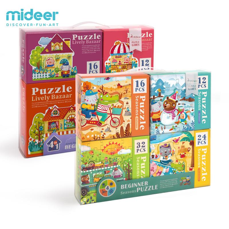 Mideer Xếp hình 3D bằng gỗ Milu đồ chơi giáo dục trẻ em giáo dục sớm bốn trong một mảnh lớn của trò