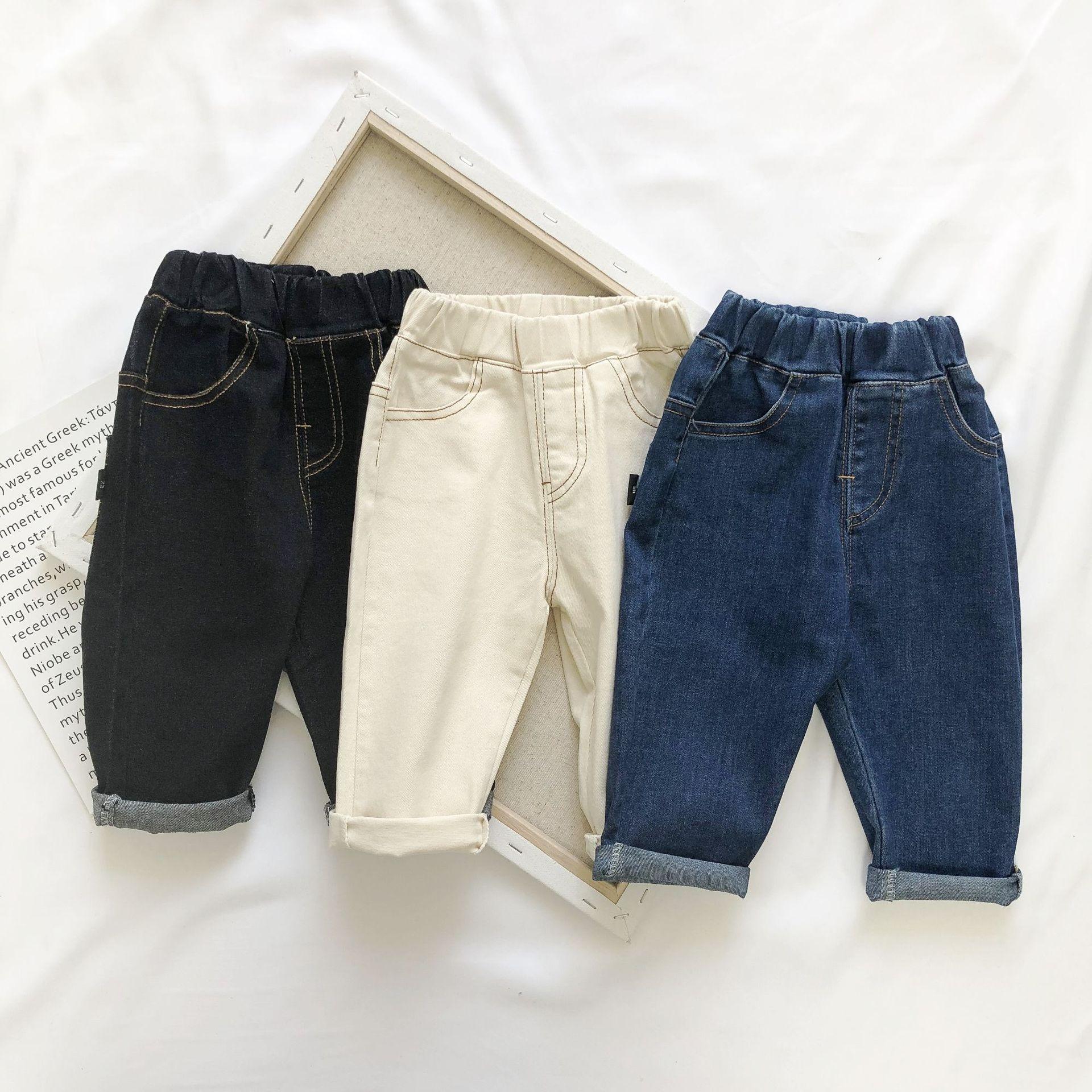 FANJINBABY Quần trẻ em Quần áo trẻ em cho bé trai quần jean mùa thu mới 0-5 tuổi Quần trẻ em lỏng lẻ