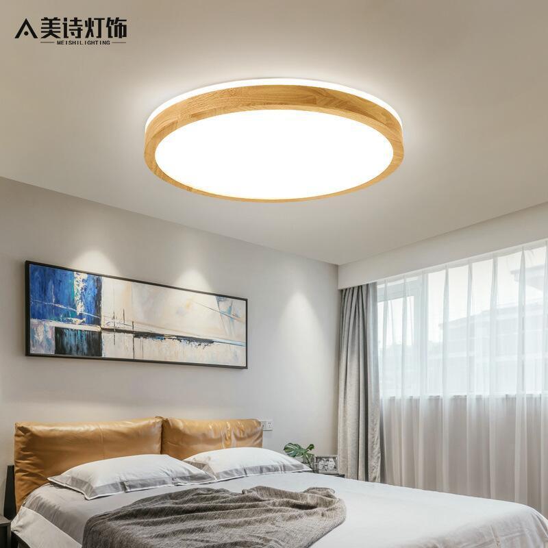 MSJY đèn ốp trần Phong cách Nhật Bản siêu mỏng đèn trần gỗ rắn phòng ngủ chính hiện đại đơn giản nor