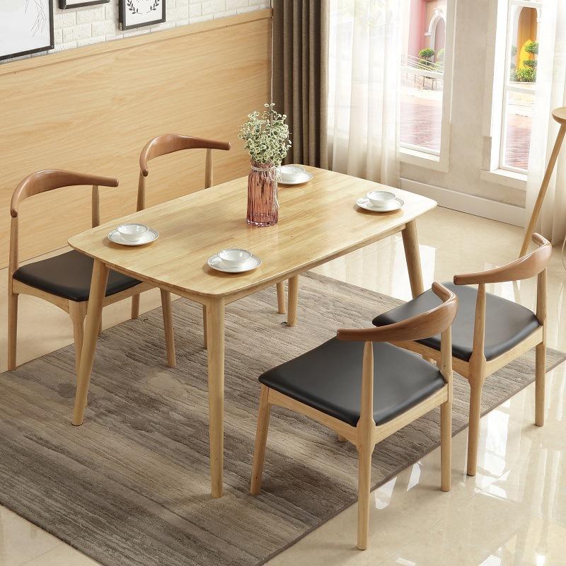 QIANSHANG thị trường nội thất , đèn Nội thất bàn ăn gỗ rắn đơn giản và phong cách tất cả bàn ăn gỗ v
