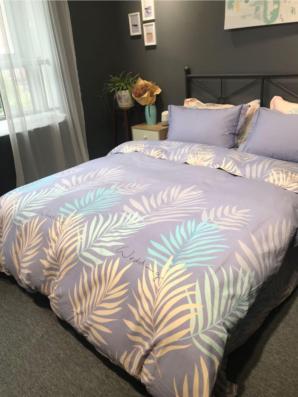 Bộ drap giường Miễn phí vận chuyển bông dày chải chải in bốn phần tỷ lệ giá mua quà tặng