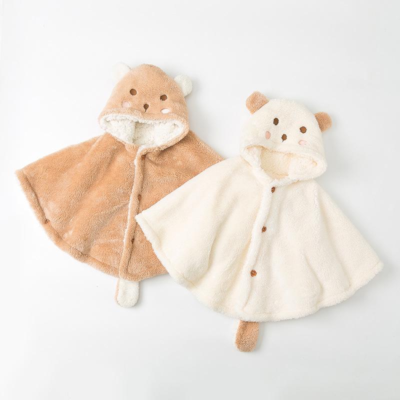 ZUOZUOMIAN Áo choàng trẻ em Quần áo trẻ em da cừu bé cape dày bé cape bé khăn choàng bé phim hoạt hì