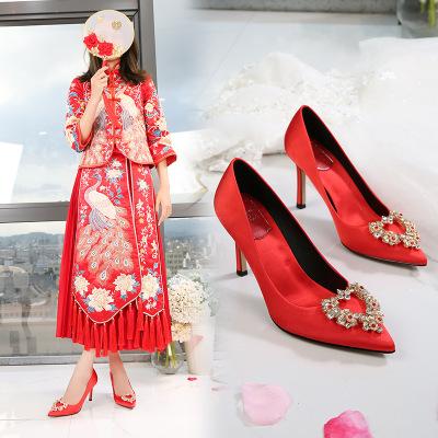 Royes Vivair Giày cô dâu Royes Vivair giày cưới màu đỏ cô dâu mới satin satin stiletto gót phong các