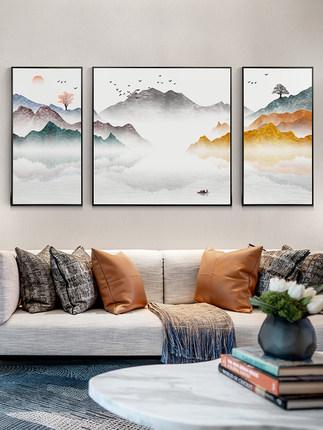 Lange Tranh trang trí  Phong cách trang trí phòng khách kiểu Trung Quốc mới Phong thủy dựa vào ngọn