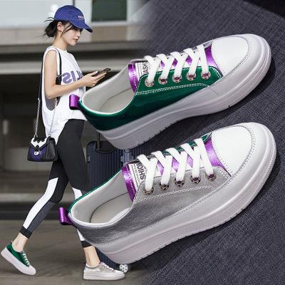 giày bánh mì / giày Platform Giày nhỏ màu trắng da nữ 2020 mùa xuân bùng nổ Màu sắc Hàn Quốc phù hợp