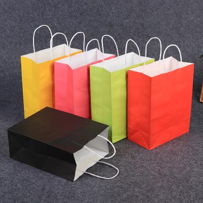 Túi giấy Túi giấy kraft màu, túi quần áo, túi quà màu kẹo, thực phẩm mang đi tùy chỉnh, túi giấy đón