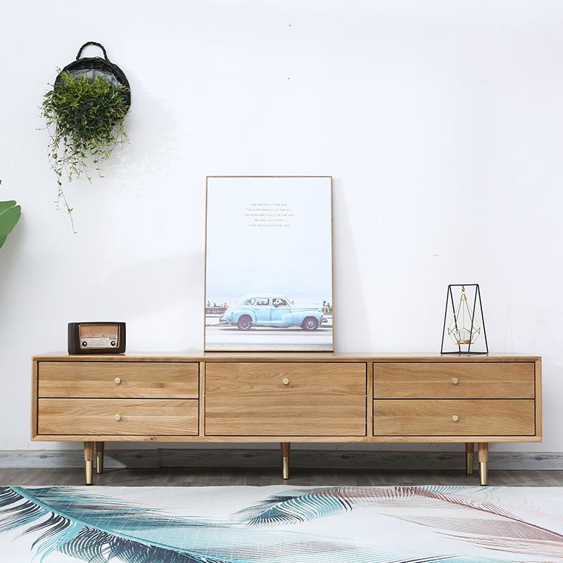 XINGYE Bàn trà Tủ bếp gỗ rắn Bắc Âu kết hợp bàn cà phê hiện đại tối giản nội thất Nhật Bản gỗ sồi tr